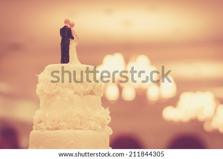 Beautiful Cake for Wedding Ceremony - stock photo