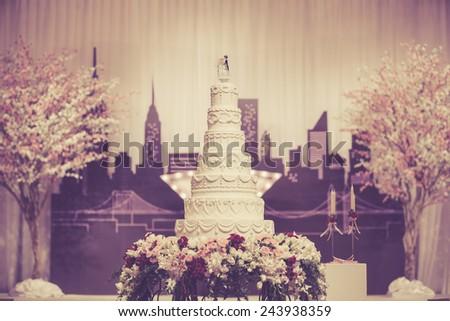 Beautiful Cake for Wedding Ceremony - stock photo