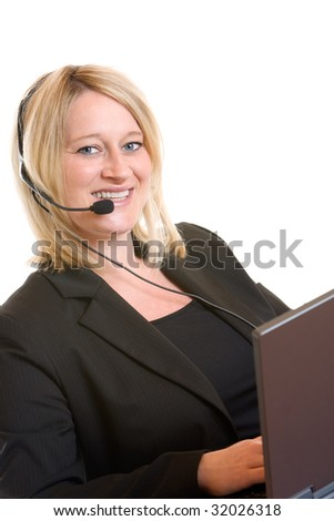 Beautiful Call Center Agent talks to customer - stock photo