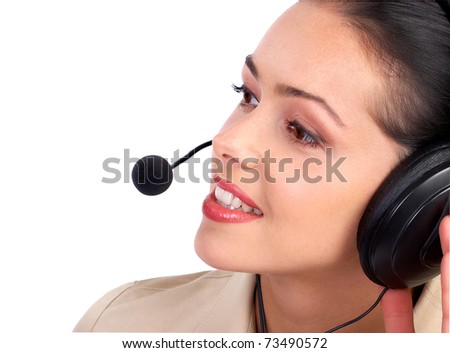 Beautiful  call center operator with headset. Isolated over white background .