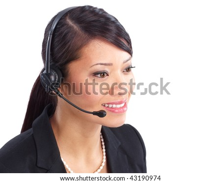 Beautiful  call center operator with headset. Over white background - stock photo