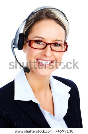Beautiful  call center operator with headset. Over white background . - stock photo