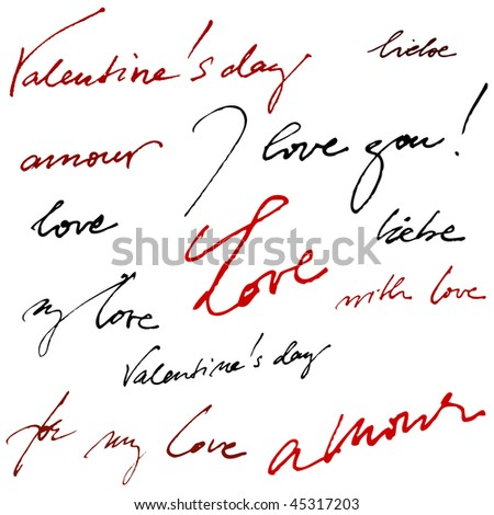 beautiful calligraphic background for valentine's day - stock photo