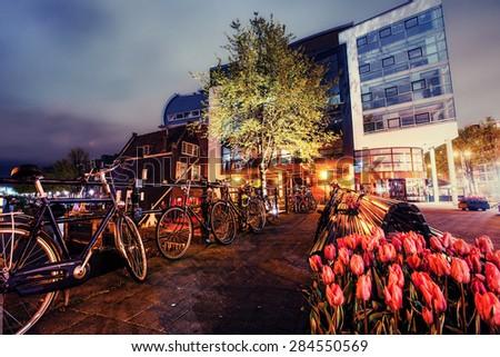 Beautiful calm night view of Amsterdam city. - stock photo