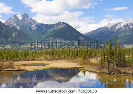 Beautiful Canadian Landscape with Mountains, Lake and Fir Trees - stock photo