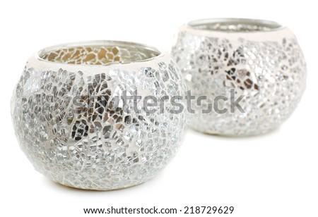 Beautiful candlesticks isolated on white - stock photo