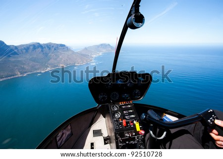 beautiful Cape Town coastal aerial view from helicopter - stock photo