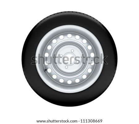Beautiful car wheel on white background, no shadow. 3D render - stock photo