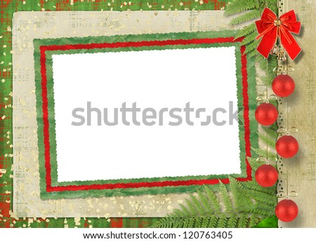Beautiful card for congratulation or invitation with  red bow and spheres - stock photo
