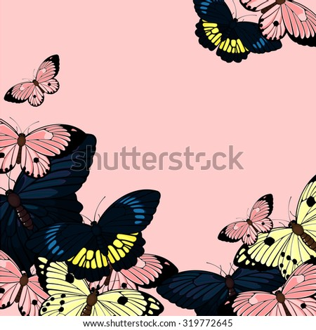 Beautiful card with butterflies, with a place for your text (raster version) - stock photo