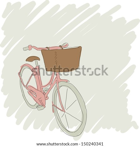 Beautiful card with pretty pink bicycle. Raster copy of vector illustration - stock photo