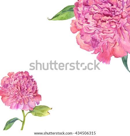 Beautiful card with watercolor flower peony. Wedding, birthday, celebration invitatio. Card, poster, invitation template. - stock photo