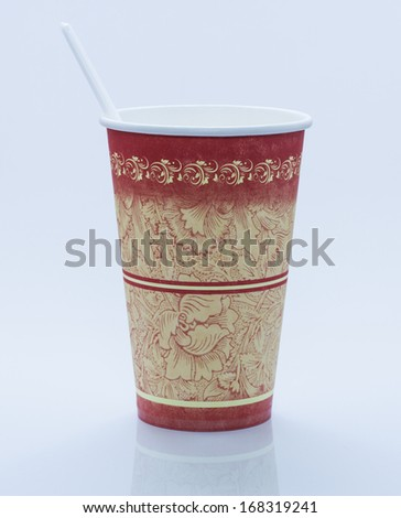 Beautiful cardboard disposable cup for coffee and other. - stock photo