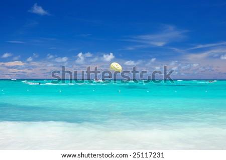 Beautiful caribbean beach in Dominican Republic. - stock photo