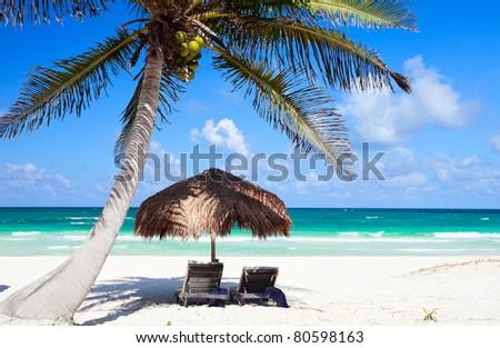 Beautiful Caribbean coast in Tulum Mexico - stock photo