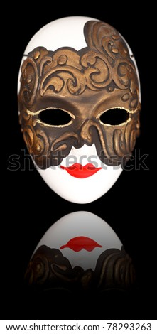 Beautiful carnival mask from Venice over black background - stock photo