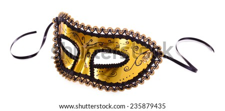 Beautiful carnival mask isolated on white - stock photo