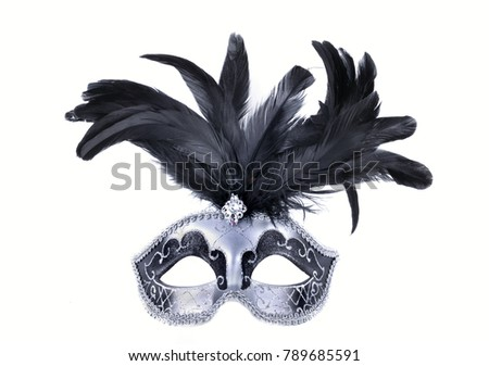 beautiful carnival mask with black feather isolated on white background