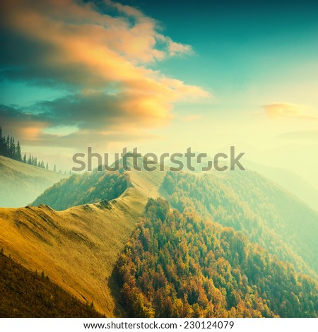 Beautiful Carpathian mountain valley with colorful clouds in a sunset light. Majestic landscape. Vintage colors - stock photo