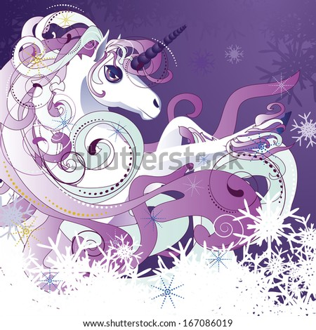 Beautiful cartoon white unicorn with decorative violet mane. - stock photo