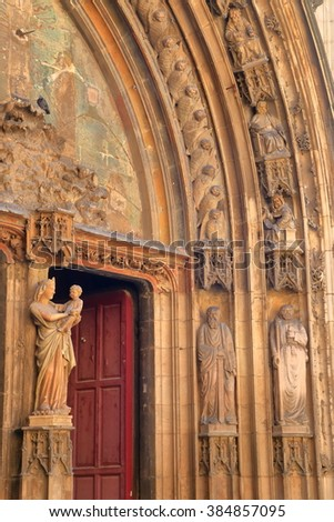 Beautiful carvings decorating the gate of the Gothic Cathedral in Aix-en-Provence, France - stock photo