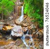 beautiful cascade waterfall, koh Samui, Thailand - stock photo