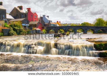 Beautiful cascades of Ennistymon in Co. Clare, Ireland - stock photo