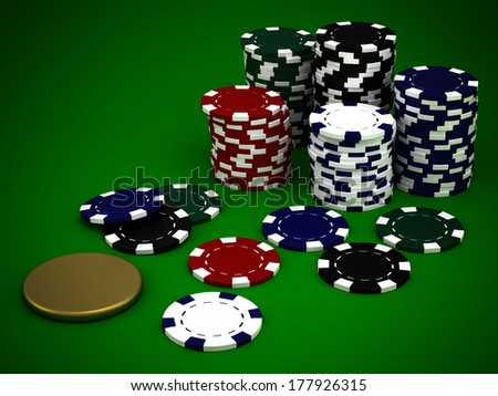 Beautiful casino chips on a green background