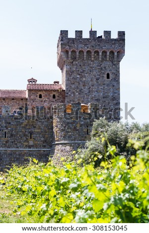 beautiful castle in California built as the center piece and winery of a vineyard in Napa Valley - stock photo