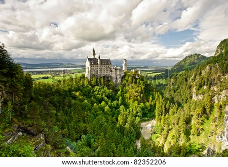 Beautiful castle in the mountains - stock photo