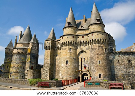 Beautiful castle in Vitré, Brittany, France