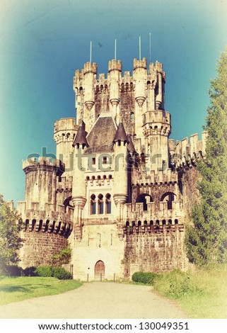 Beautiful castle of Butron. Basque country, Spain. Vintage style photo. - stock photo