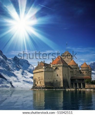 Beautiful castle under blue sky - stock photo