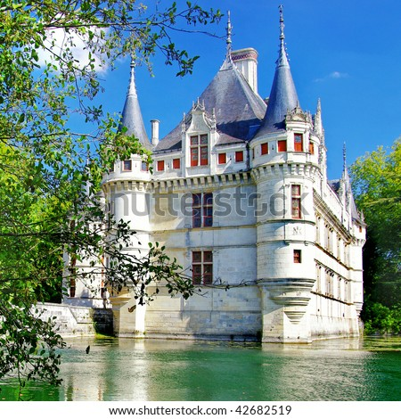 beautiful castles of Loire valley - Azey - stock photo