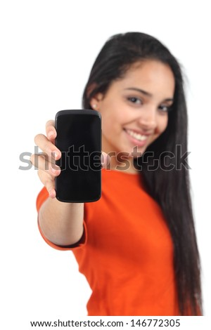 Beautiful casual muslim woman showing a blank smartphone screen isolated on a white background          - stock photo
