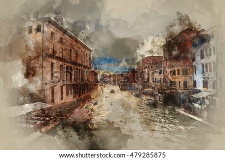 Beautiful casual style watercolor painting of canal in Venice Italy