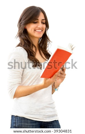 Beautiful casual woman reading a book isolated on white