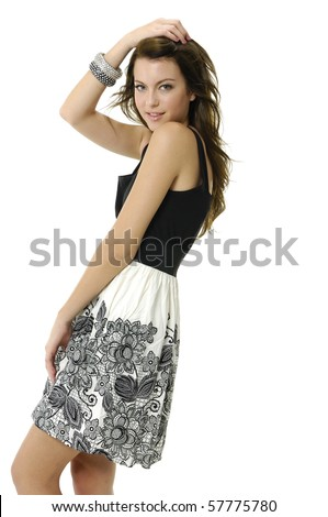 Beautiful casual woman smiling - isolated - stock photo