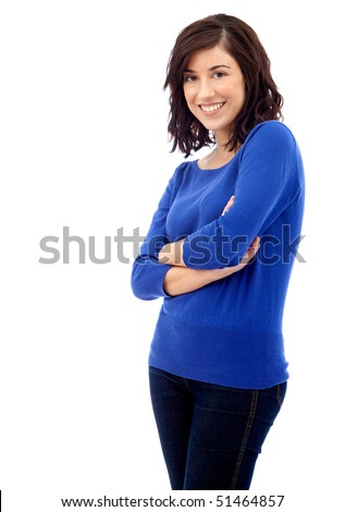 Beautiful casual woman smiling isolated over a white background