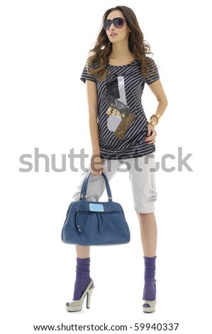 Beautiful casual young fashion female in Isolated Studio - stock photo
