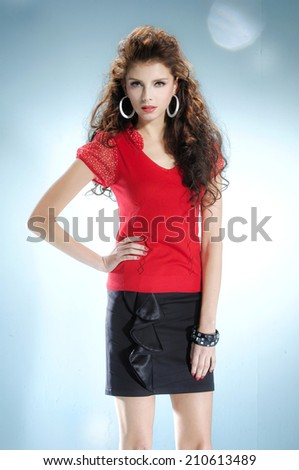 beautiful casual young fashion model shot in studio - stock photo