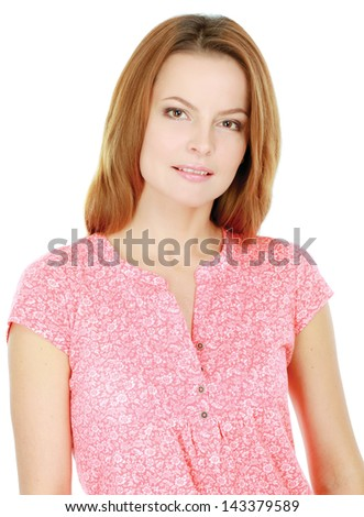 Beautiful casual young woman standing isolated against white background - stock photo