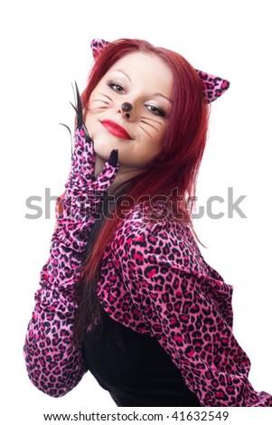 Beautiful cat woman - stock photo