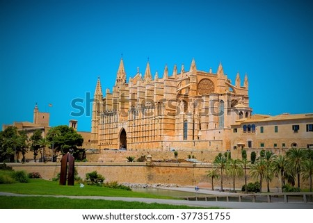 beautiful Cathedral designed in the French Gothic style, Palma de Mallorca, Spain - stock photo