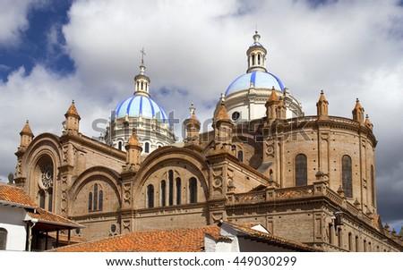 Beautiful cathedral in Cuenca, Ecuador - stock photo