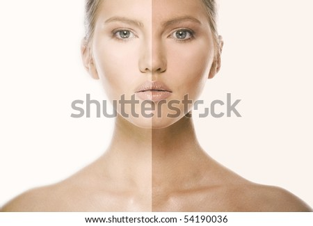 beautiful caucasian blonde young woman with brown eyes. Comparison of a suntanned site of a skin. isolated white - stock photo