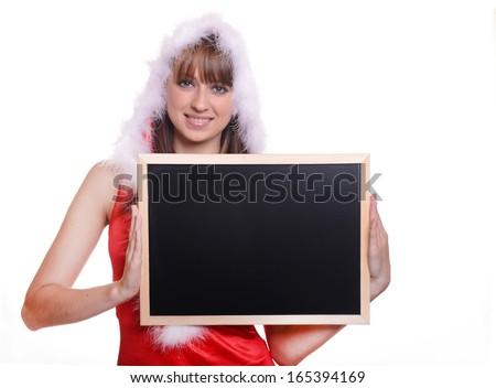 Beautiful caucasian brunette in santa claus costume over white background - stock photo