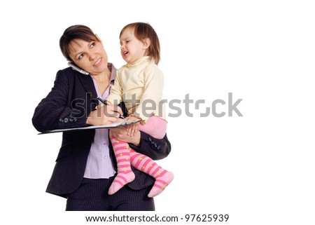 Beautiful Caucasian business girl holding her daughter in her arms on a white background