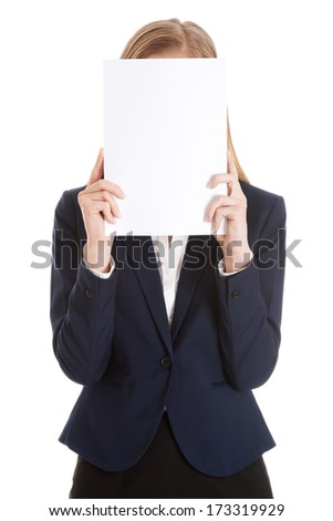 Beautiful caucasian business woman holding empty white piece of paper over her face. Isolated on white.