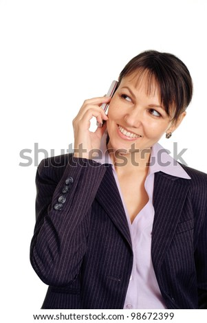Beautiful caucasian business woman with a mobile on a white background